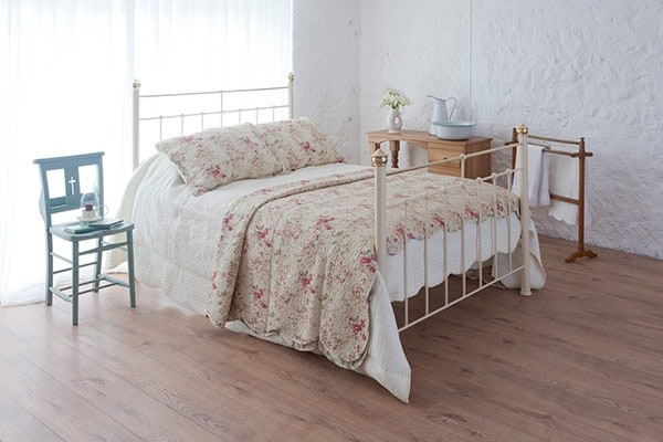 beatrice cream iron and brass king size bed