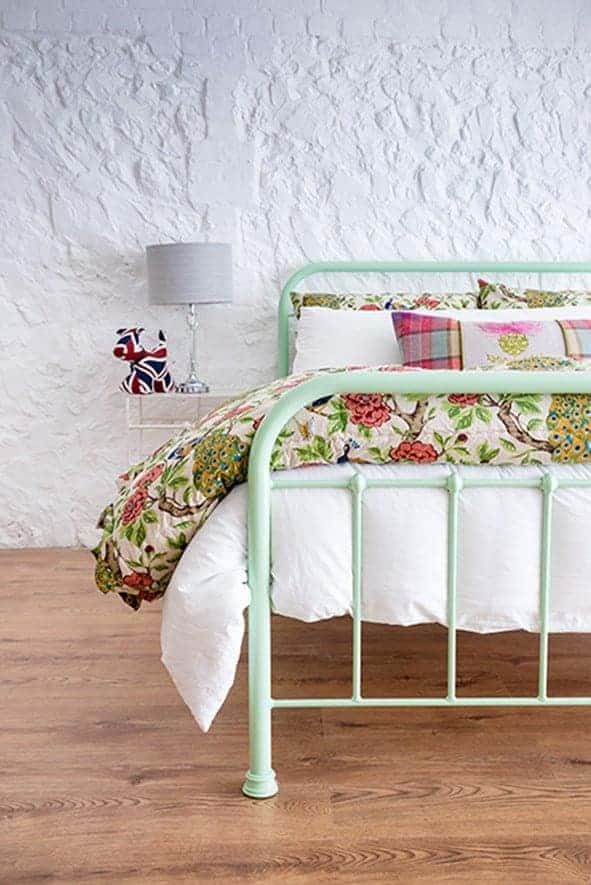 mint green double iron bed