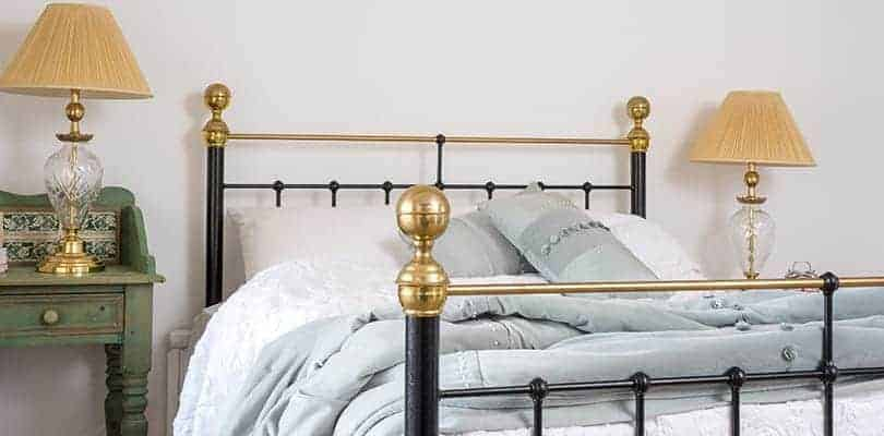 albert double black and brass iron bed