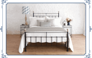 black iron bed with frame
